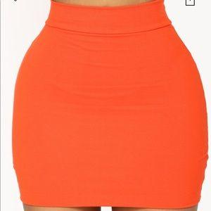 NWOT Orange Fashion Nova Melanie Mini Skirt